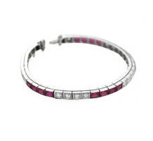 14KT White Gold Ruby & Diamond Bracelet