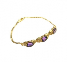 14KT Yellow Gold Amethyst Bracelet