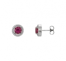 14KT White Gold Pink Tourmaline and Diamond Earrings