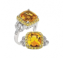 Yellow Sapphire and Citrine Ring