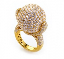 18K Yellow Gold Diamond Pave Sphere Ring