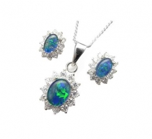 Opal and Diamond Earrings and Pendant Set