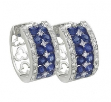 14KT White Gold Blue Sapphire Hoop Earrings