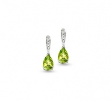 14KT White Gold Peridot Diamond Earrings