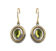 Sterling Silver and 14KT Yellow Gold Peridot Earrings