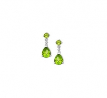 14KT White Gold Peridot and Diamonds Earrings