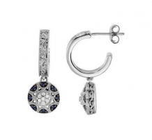 .08 Blue Sapphire and Diamond Earrings