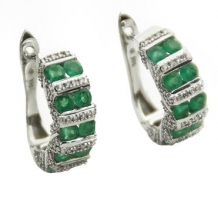 14K White Gold Emerald & Diamond Earrings