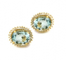 Aquamarine and Diamond Earrings