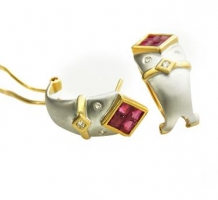 Two Tone Ruby and Diamond Earrings