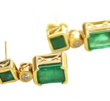 14KT Yellow Gold Emerald & Diamond Earrings