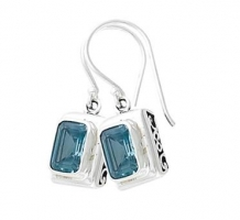 Silver Blue Topaz Earrings