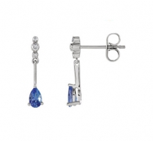 14kt White Gold Genuine Tanzanite and Diamond Earrings