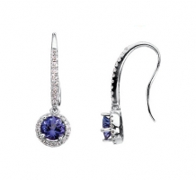 14kt White gold Tanzanite and Diamond Earrings
