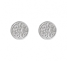 3 Letter Script Monogram Earrings