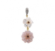 Genuine Pink Tourmaline Mother of Pearl and Diamond Pendant