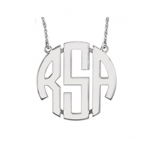 40mm 3 Letter Block Monogram Necklace