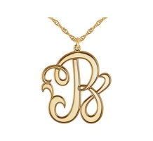 22mm Single Letter Script Monogram Necklace