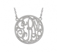 14KT White Gold 3 Letter Script Monogram Necklace