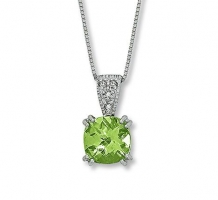 14KT White Gold and Diamonds Peridot Pendant