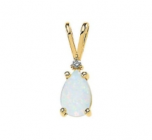 Genuine Cabochon Opal and Diamond Necklace