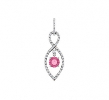1 1/4 CT Pink Sapphire and Diamond Necklace