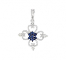 Sterling Silver Blue Sapphire and Diamond Necklace