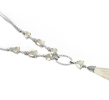 14K White Gold Pink Quartz & Diamond Necklace