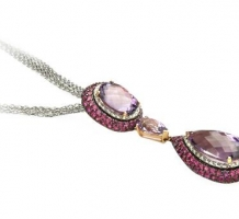 14KT White & Rose Gold Amethyst, Pink Sapphire & Diamond Necklace