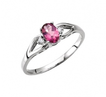 Pink Tourmaline and Two Diamonds Ring