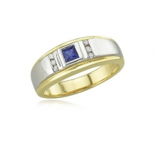 White and Yellow Gold Blue Sapphire and Diamonds Mens Ring
