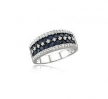 White Gold Blue Sapphire and Diamond Ring