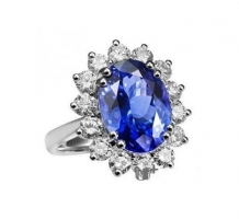 Princess Diana Blue Sapphire and Diamond Ring