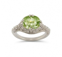 White Gold Peridot Ring