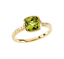 Genuine Checkerboard Peridot and Diamond Ring