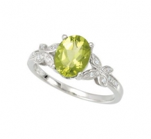 Peridot and Diamond Butterfly Ring