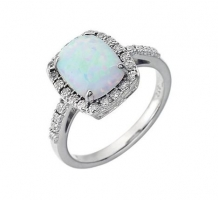 Created Opal and Diamond Ring