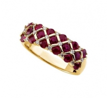 14KT Genuine Ruby and Diamond Ring