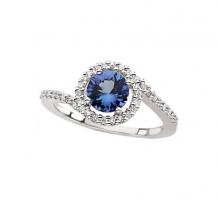 14kt White Gold Genuine Tanzanite and Diamond Ring