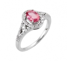 Genuine Pink Tourmaline and Diamond Ring