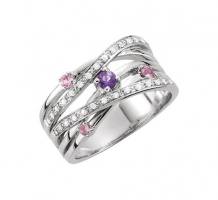 Sterling Silver Pink Tourmaline and Diamond Ring