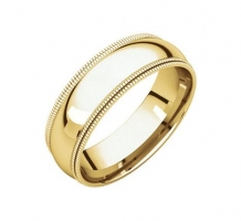 14KT Yellow Gold Double Milgrain Comfort Fit Band