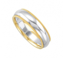 14KT Two Tone Comfort Fit Wedding Band