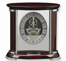 Rosewood And Chrome Trim Mantel Clock