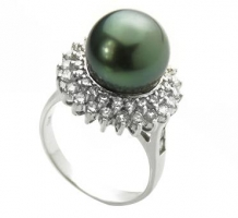 14KT White Gold Black Tahitian Pearl Ring