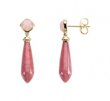 Pink Opal and Rhodonite Earrings