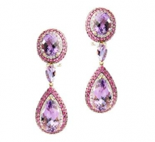 14KT White & Rose Gold Fashion Amethyst, Pink Sapphire & Diamond Earrings