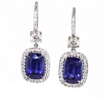 14KT White Gold Blue Sapphire and Diamond Earrings