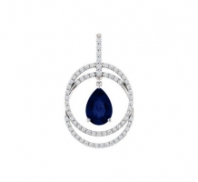 Chatham Created Blue Sapphire and Diamond Necklace