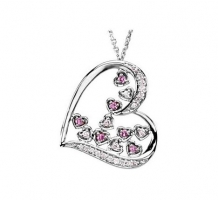 Genuine Pink Sapphire and Diamond Necklace